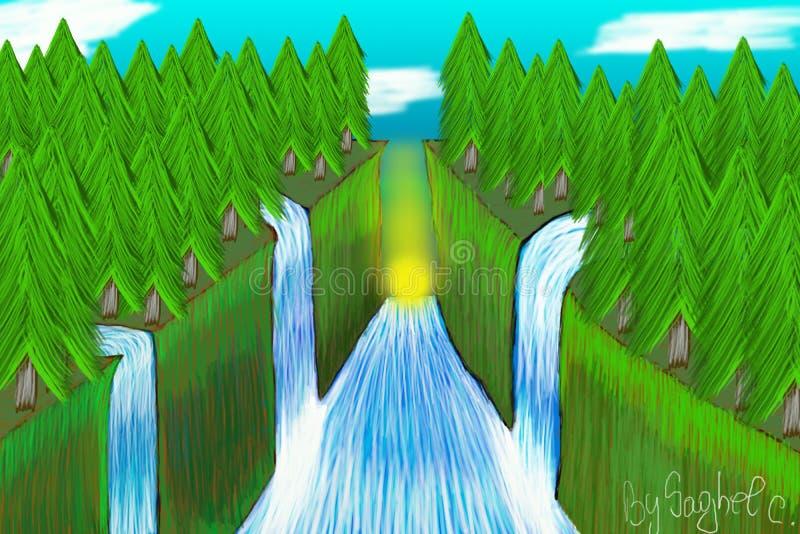 Download L'acqua della foresta illustrazione di stock. Illustrazione di cielo - 117981575