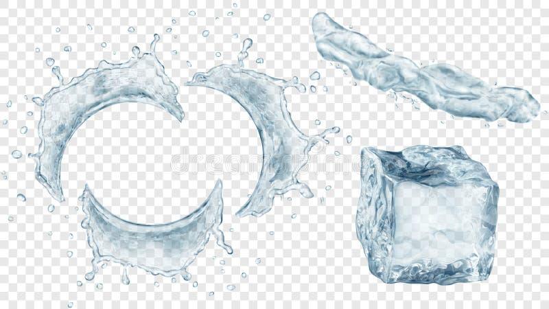 L'acqua spruzza e cubetto di ghiaccio illustrazione di stock