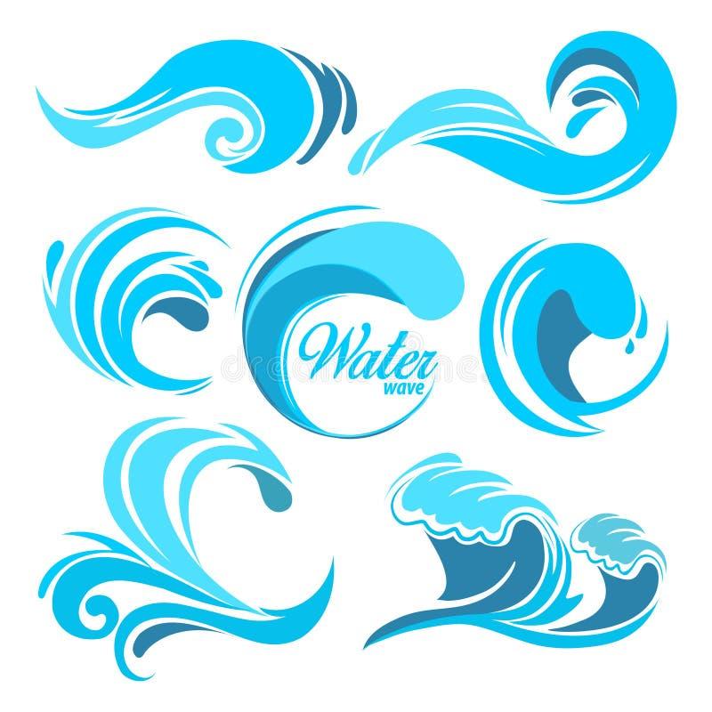 L'acqua spruzza e le onde di oceano Simboli grafici di vettore per progettazione di logo illustrazione vettoriale