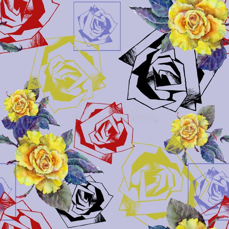 L'acquerello è aumentato con decorativo è aumentato su un fondo blu seamlessly royalty illustrazione gratis