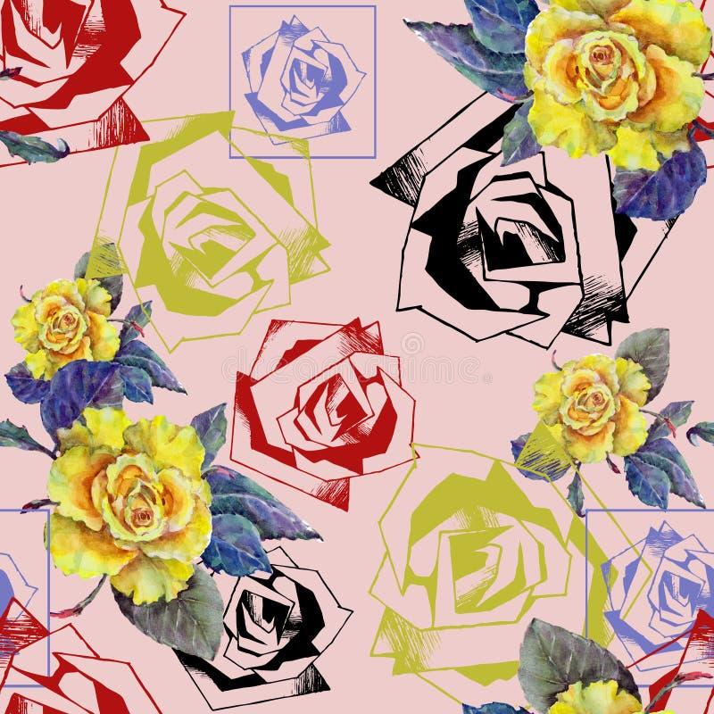 L'acquerello è aumentato con decorativo è aumentato su un fondo rosa seamlessly royalty illustrazione gratis