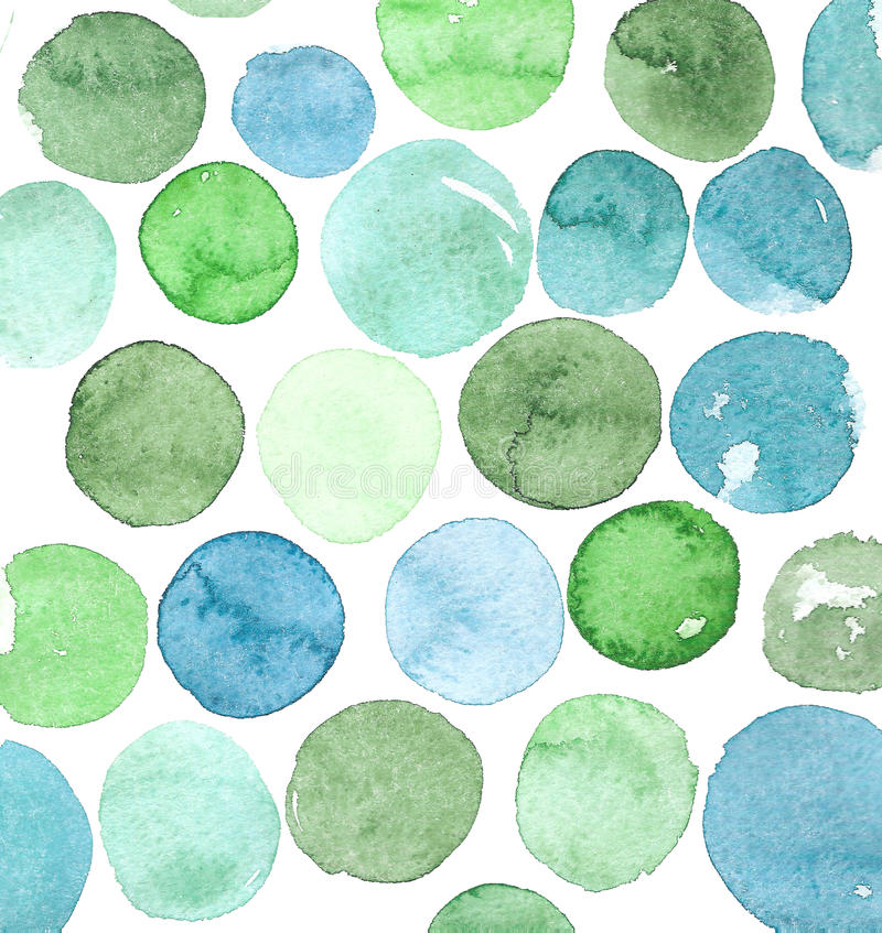 L'acquerello circonda il fondo, i toni differenti dei giri blu e verdi illustrazione di stock