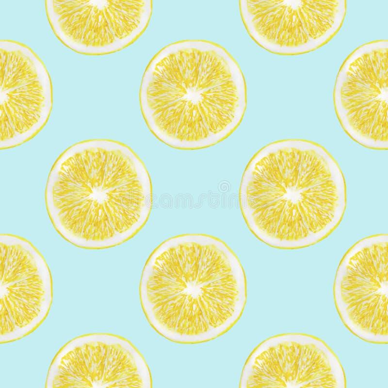 L'acquerello dei limoni fruttifica insieme senza cuciture di carta dell'illustrazione di Digital del modello dell'agrume del desi illustrazione di stock