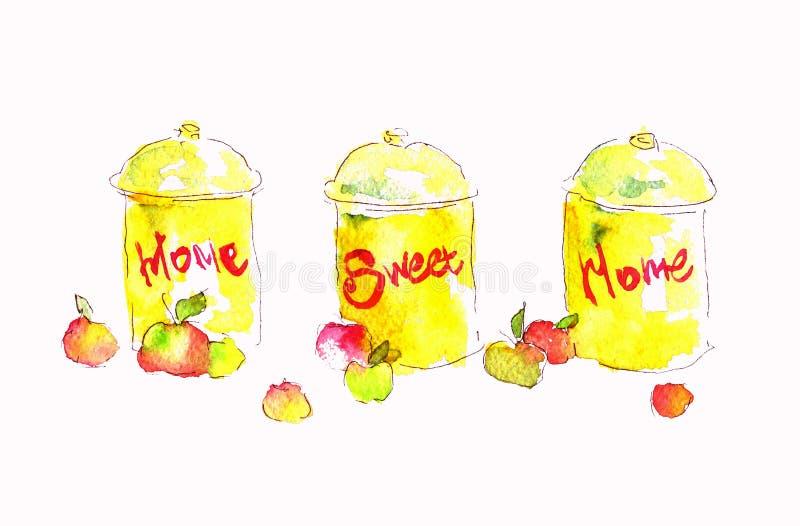 L'acquerello di Seth inscatola la casa dolce casa di nadpistyu Illustrazione dell'acquerello per la vostra progettazione illustrazione di stock