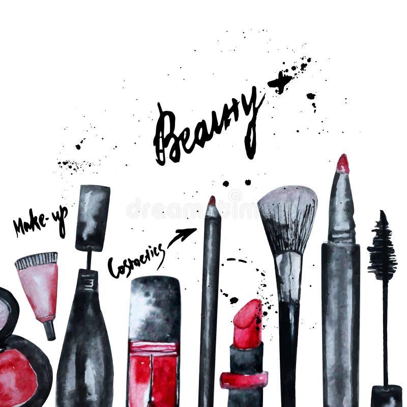 L'acquerello di vettore affascinante compone l'insieme dei cosmetici con smalto e rossetto Progettazione creativa per la carta, b illustrazione vettoriale