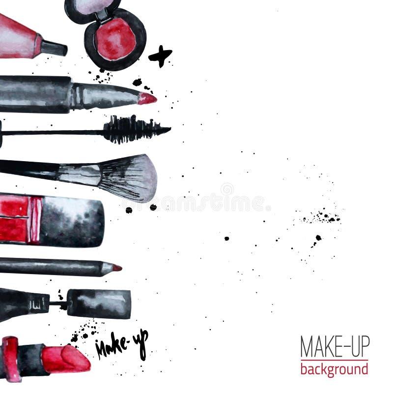 L'acquerello di vettore affascinante compone l'insieme dei cosmetici con smalto e rossetto Progettazione creativa per la carta, b illustrazione di stock