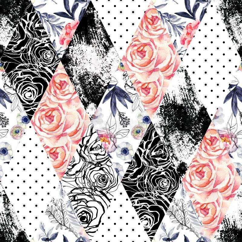 L'acquerello e l'inchiostro astratti scarabocchiano i fiori, le foglie, fondo delle erbacce illustrazione di stock