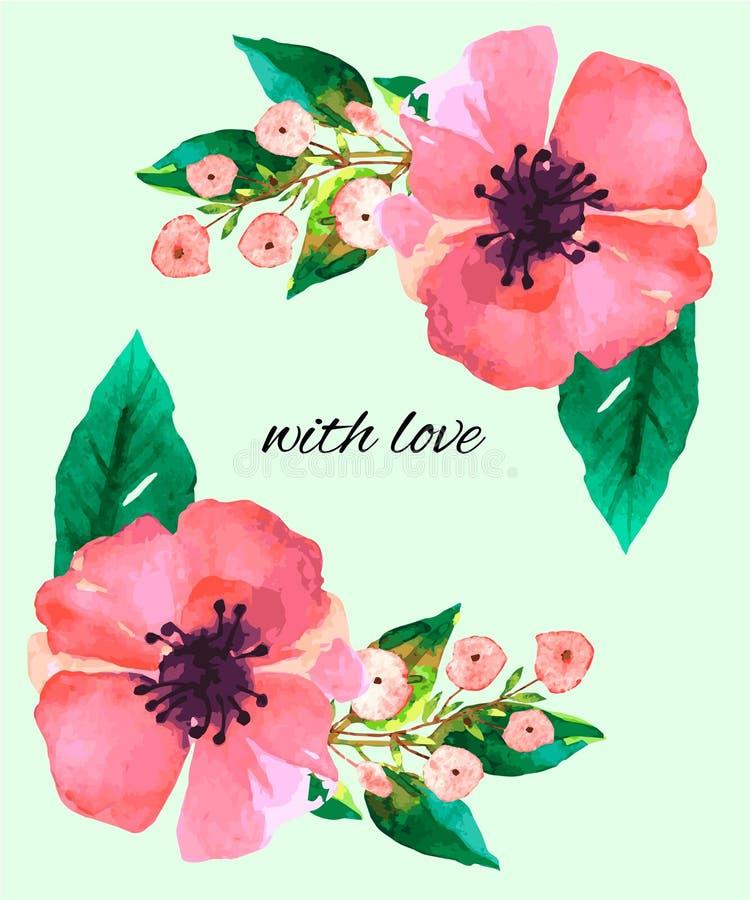 L'acquerello fiorisce il fiore delle foglie verdi immagini stock