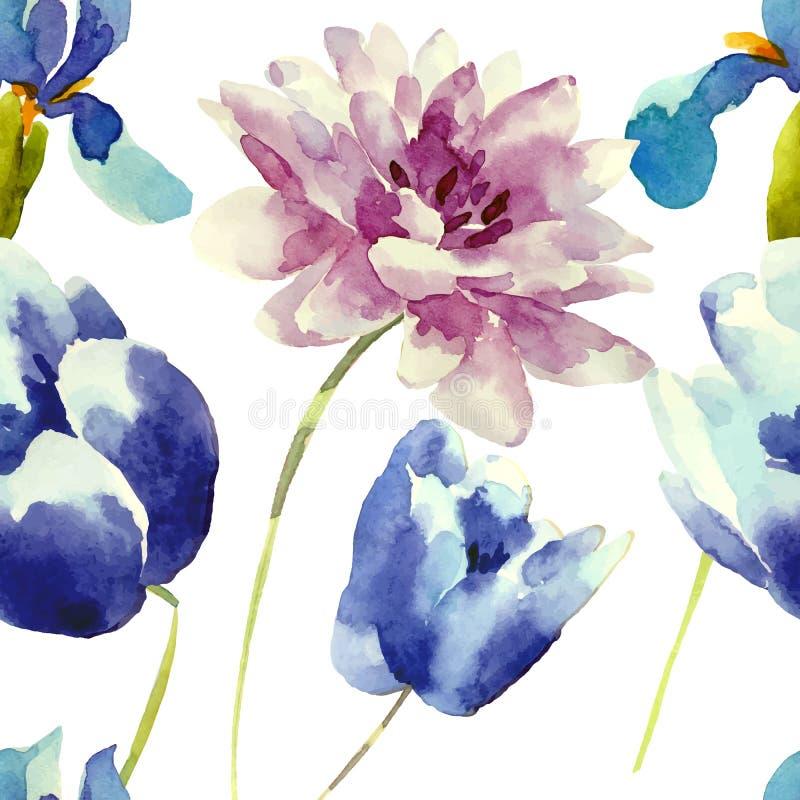 L'acquerello fiorisce il modello senza cuciture illustrazione di stock