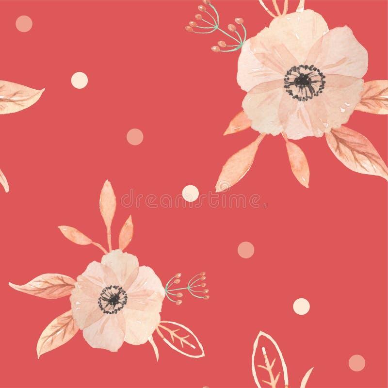 L'acquerello fiorisce il modello senza cuciture dipinto bacche Autumn Fall illustrazione vettoriale