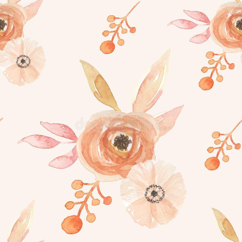 L'acquerello fiorisce il modello senza cuciture dipinto bacche Autumn Fall delle foglie royalty illustrazione gratis