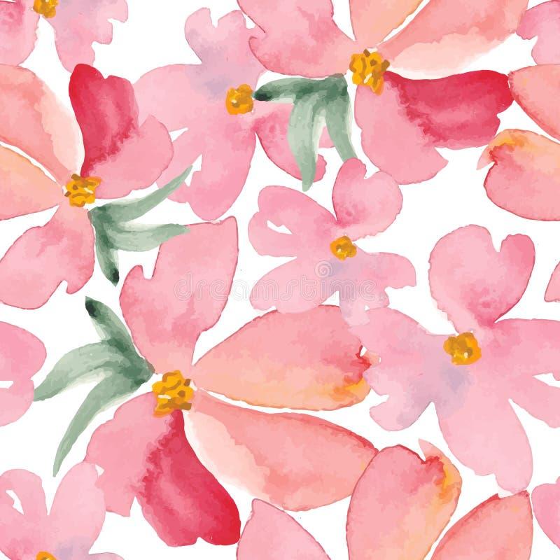 L'acquerello fiorisce il modello senza cuciture Illustratio disegnato a mano di vettore royalty illustrazione gratis