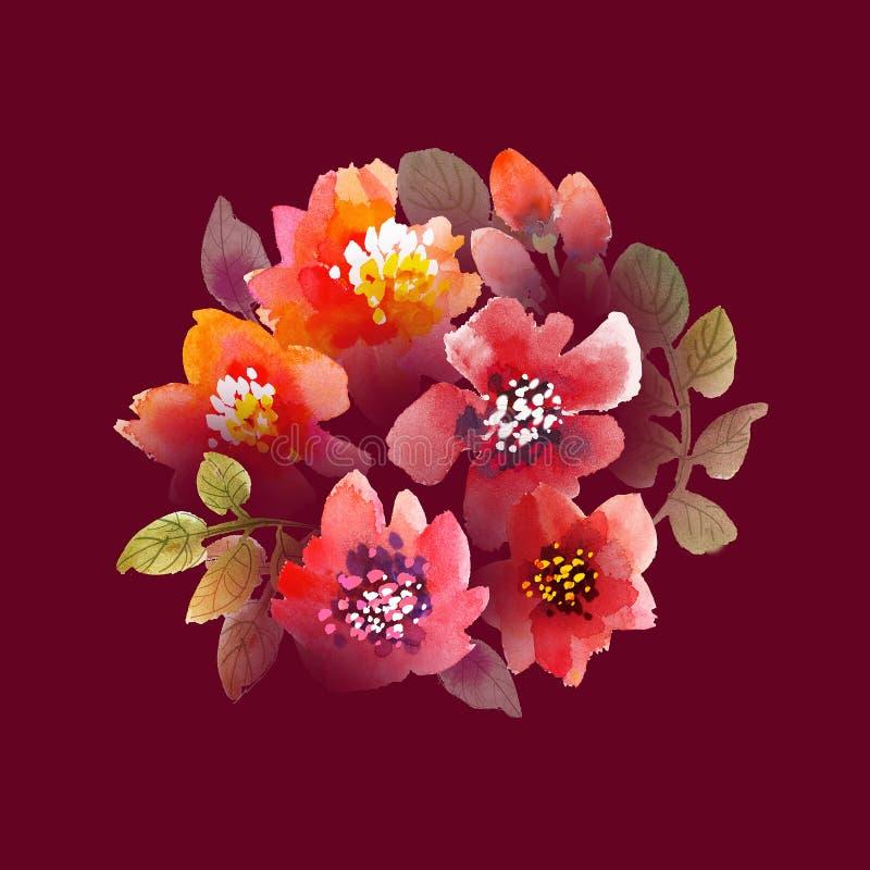 L'acquerello fiorisce l'illustrazione illustrazione vettoriale