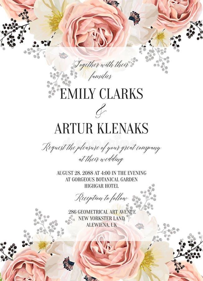 L'acquerello floreale di nozze invita, invito, conserva la carta di data illustrazione di stock