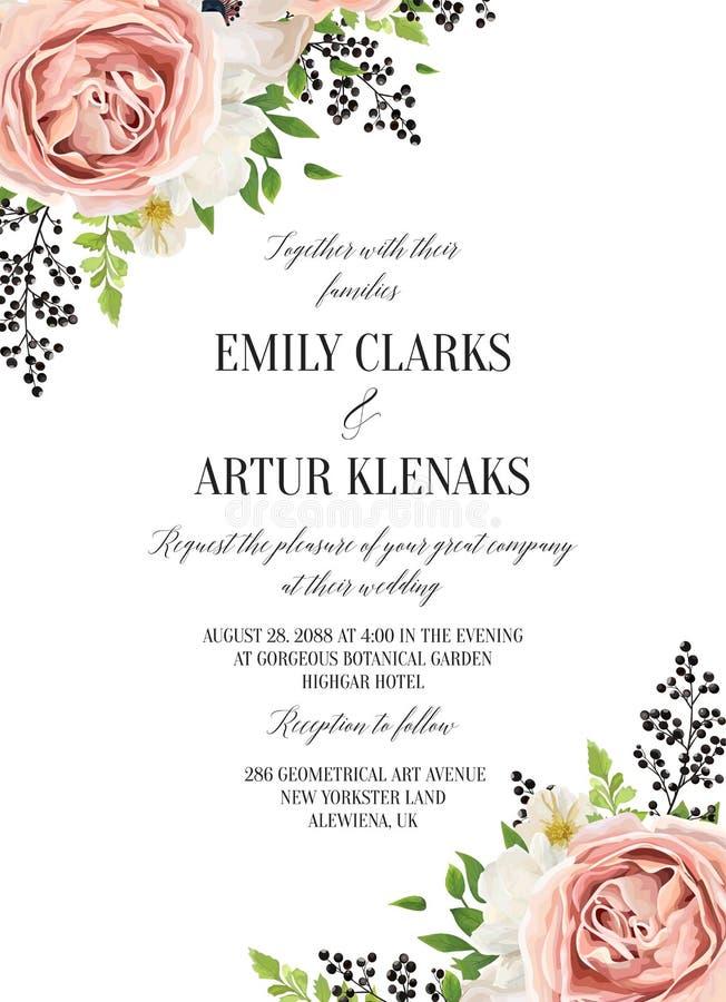 L'acquerello floreale di nozze invita, invito, conserva la carta di data illustrazione vettoriale