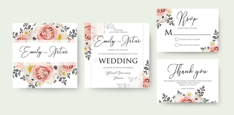 L'acquerello floreale di nozze invita, invito, conserva la data, rsv illustrazione vettoriale