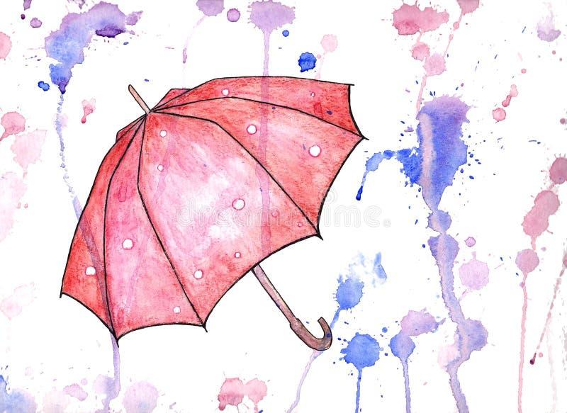 L'acquerello ha aperto l'ombrello su fondo bianco con le macchie variopinte illustrazione vettoriale