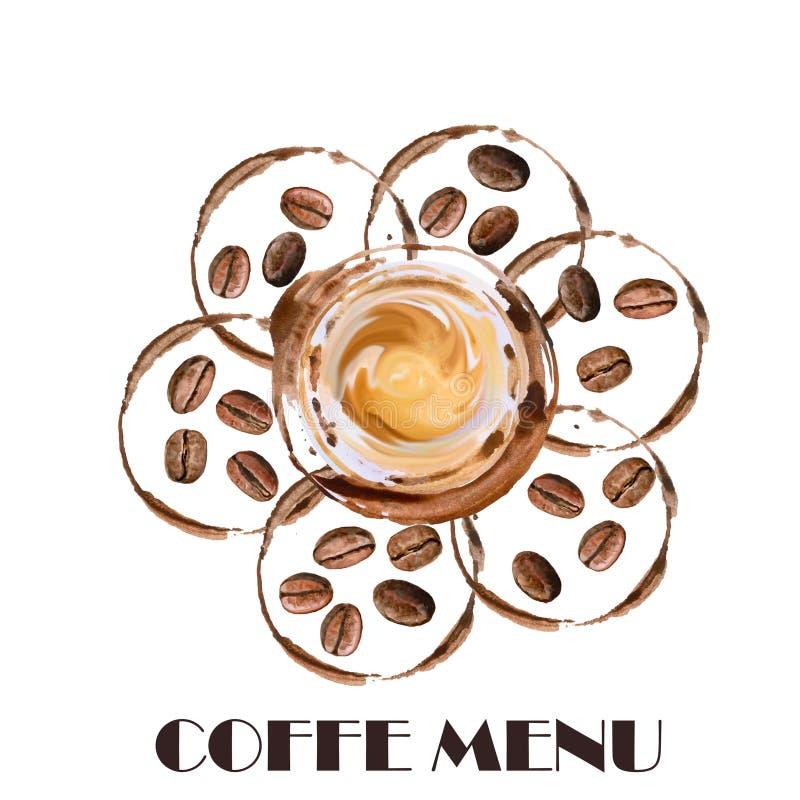 L'acquerello ha arrostito i chicchi di caffè accurati, disegno dettagliato Macchie calde del caffè e della tazza di caffè intorno illustrazione vettoriale