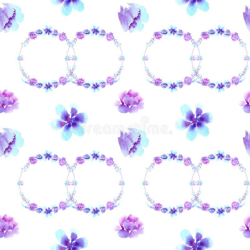 L'acquerello modella il modello senza cuciture, fiori viola-blu royalty illustrazione gratis