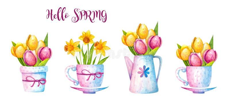 L'acquerello Pasqua mette illustrazione di stock