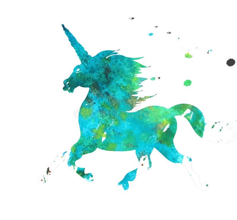 L'acquerello Unicorn Logo ha isolato royalty illustrazione gratis