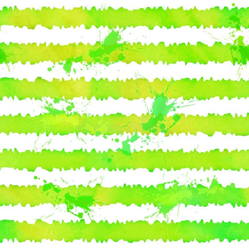 L'acquerello verde barra il modello senza cuciture di vettore illustrazione vettoriale
