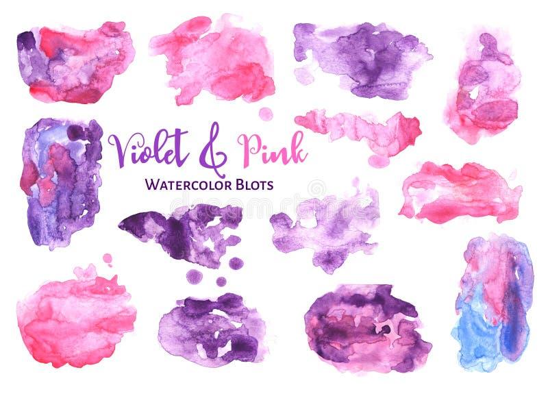 L'acquerello viola e rosa lava su fondo bianco Macchie acquerelle ultraviolette isolate illustrazione vettoriale