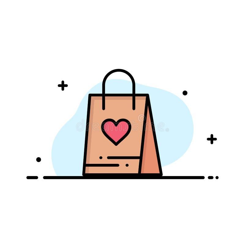 L'acquisto, amore, regalo, linea piana di affari della borsa ha riempito il modello dell'insegna di vettore dell'icona illustrazione di stock