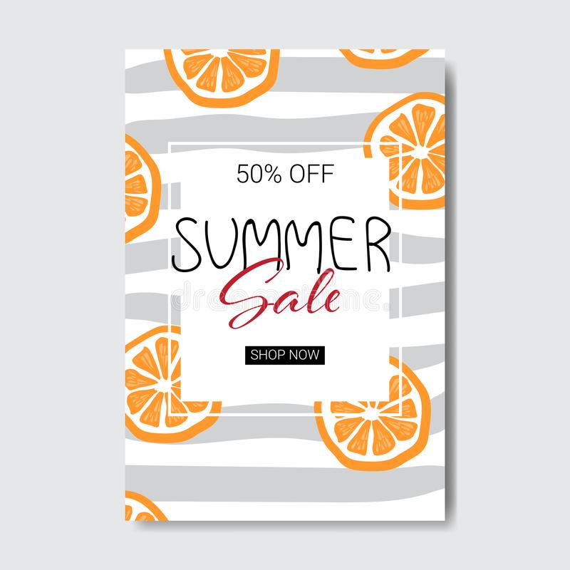L'acquisto arancio di stagione dell'etichetta di progettazione del distintivo dell'iscrizione di vendita dell'estate per la carto illustrazione di stock