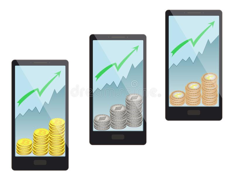 L'acquisto conia in uno smartphone su un fondo bianco, bitcoin, ethereum, litecoin illustrazione vettoriale