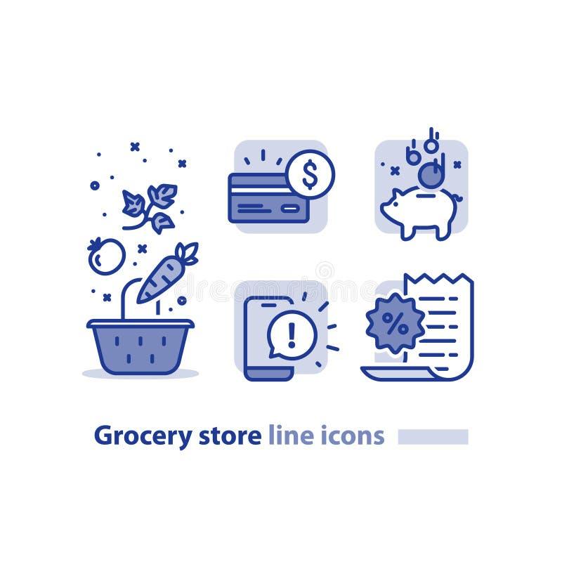 L'acquisto di alimento, il canestro della drogheria, verdure allinea l'icona, ricompensa il programma di lealtà, guadagna a punti illustrazione di stock