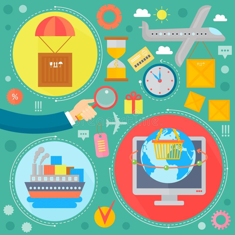 L'acquisto online, la vendita mobile e le icone digitali del modello di infographics di vendita nei cerchi progettano, intestazio illustrazione vettoriale