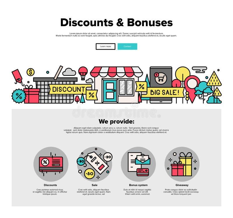 L'acquisto sconta la linea piana grafici di web illustrazione di stock