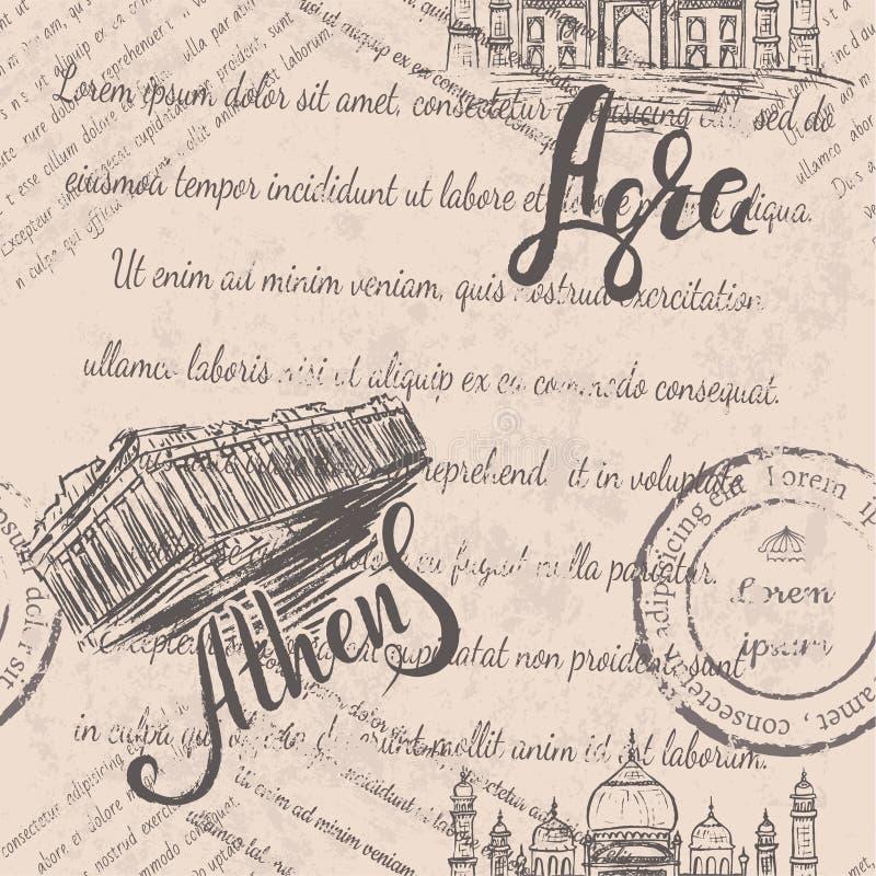 L'acropoli disegnata a mano di Atene, segnante Atene con lettere, etichetta di Agra con disegnato a mano Taj Mahal, segnante Agra royalty illustrazione gratis