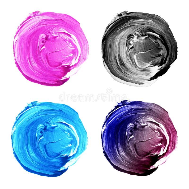 L'acrylique entoure le rose de collection, bleu, couleurs grises illustration stock