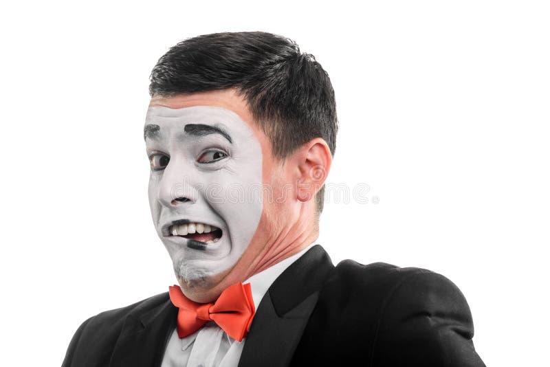 L'acteur de pantomime montre le squeamishness photos libres de droits