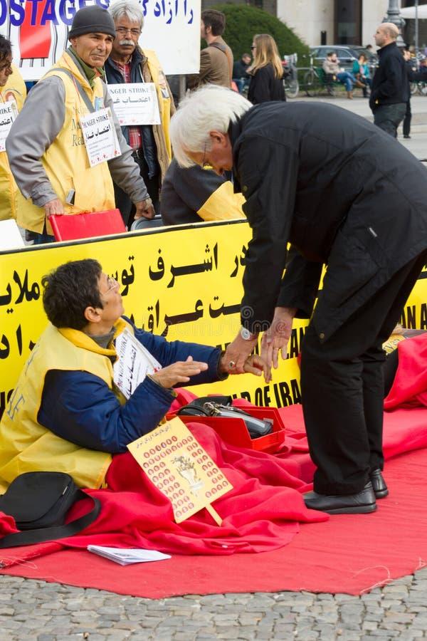 L'action &#x28 ; faim strike&#x29 ; Dissidents iraniens photo libre de droits
