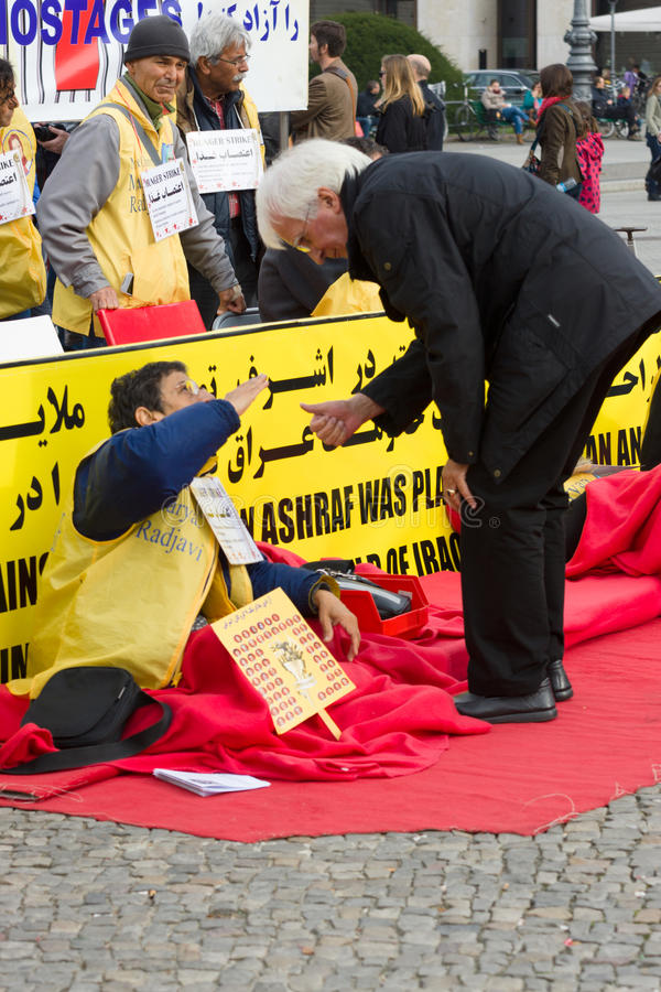L'action ( ; faim strike) ; Dissidents iraniens images stock