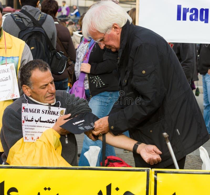 L'action &#x28 ; faim strike&#x29 ; Dissidents iraniens photo stock