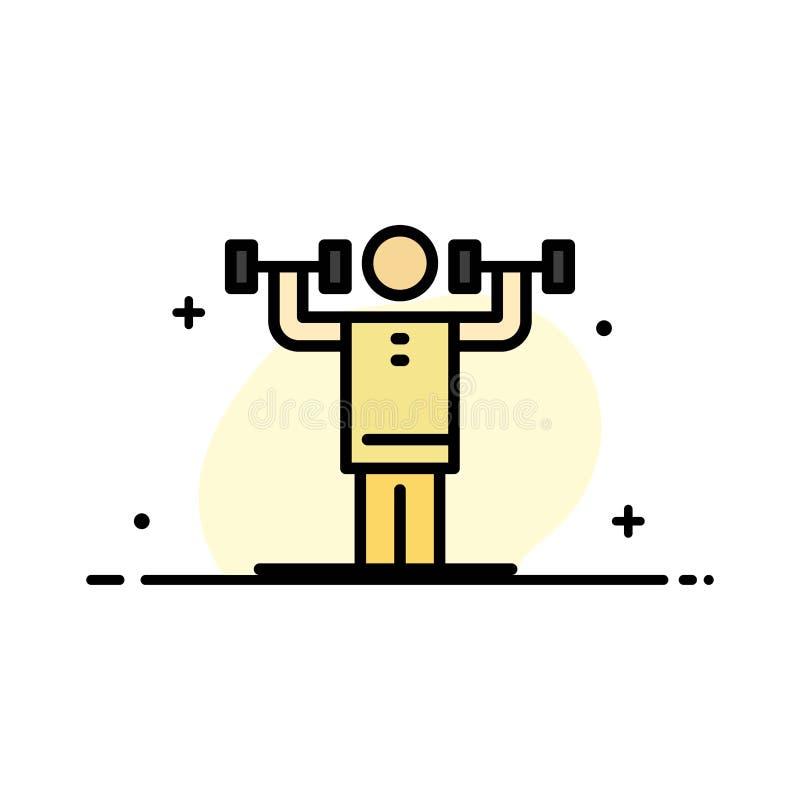 L'activité, discipline, humain, physique, ligne plate d'affaires de force a rempli calibre de bannière de vecteur d'icône illustration de vecteur