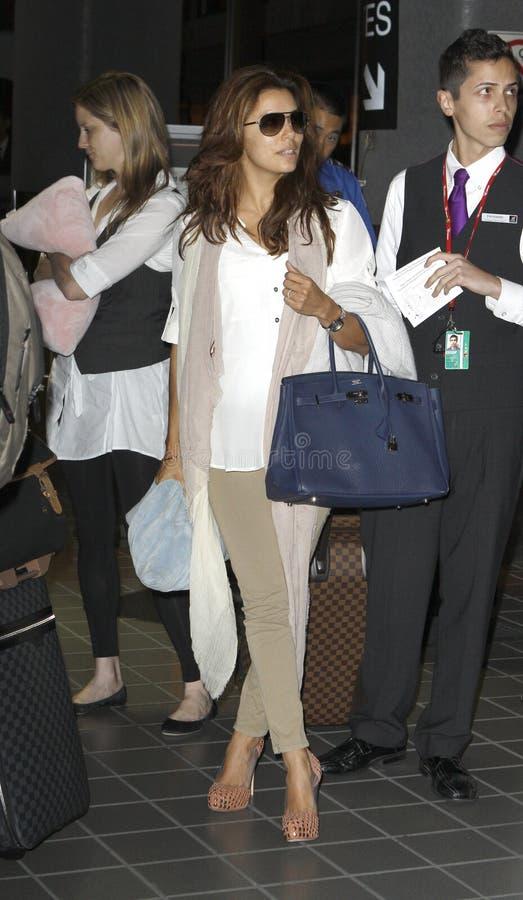 L'actrice Eva Longoria est vue chez LAX. image libre de droits