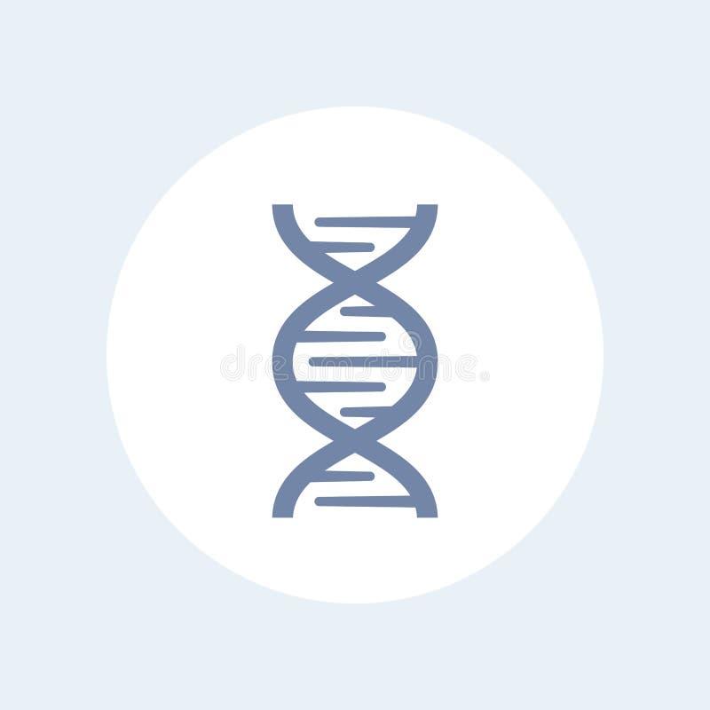 L'ADN enchaînent l'icône au-dessus du blanc, recherche de gène, la génétique illustration stock