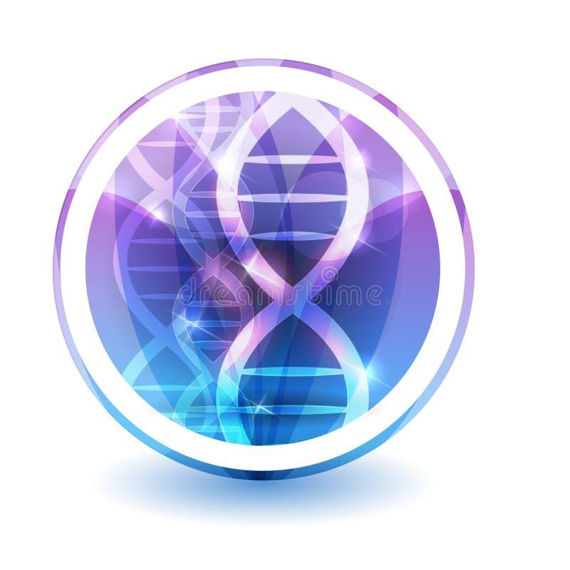 L'ADN enchaînent le signe, pétales colorés de fleur de recouvrement de forme ronde illustration de vecteur