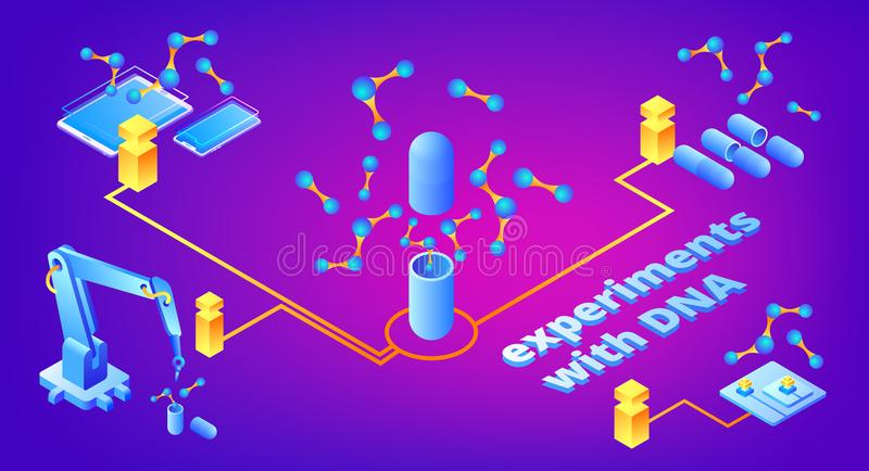 L'ADN expérimente illustration de vecteur de technologie illustration de vecteur