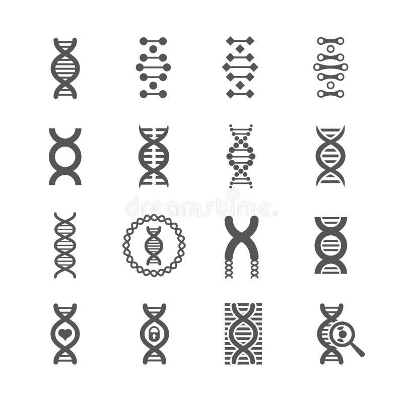 L'ADN se développent en spirales les icônes noires de vecteur réglées pour des concepts de chimie ou de biologie illustration libre de droits