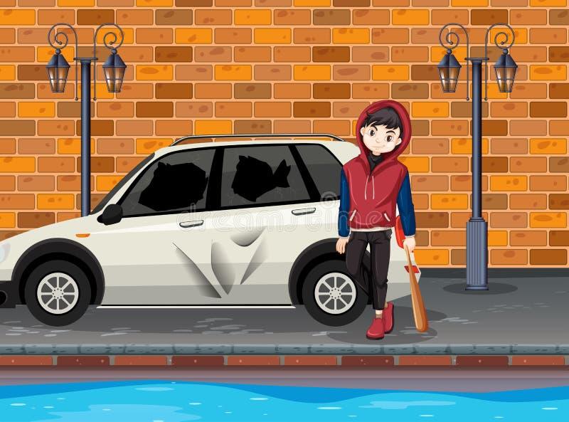 L'adolescent urbain de problème a heurté la voiture illustration de vecteur