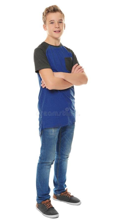 L'adolescente allegro in casuale copre fotografia stock