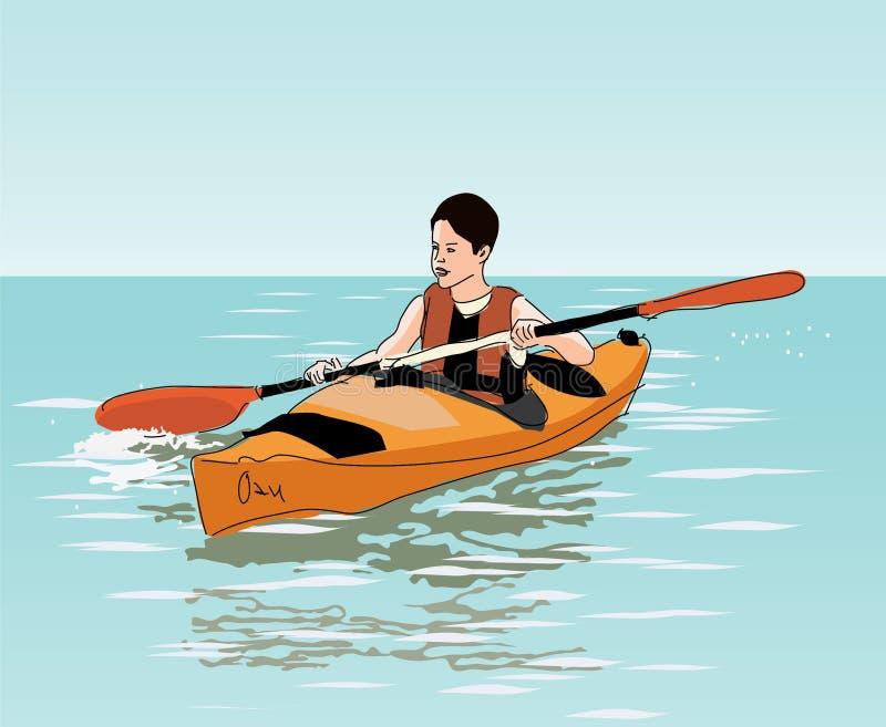 L'adolescente galleggia sul kajak illustrazione di stock