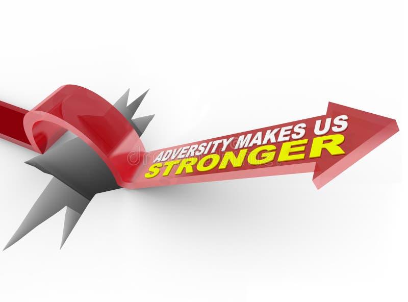 L'adversité nous rend plus forts - des sauts de flèche au-dessus de trou illustration stock