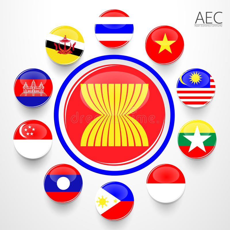 L'AEC, symboles de drapeau de la communauté économique d'ASEAN illustration stock